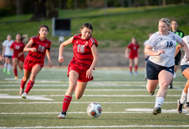 Van Horn's Adrianna Lara (15) drives the ball down field against Truman's Salem Gray (19) in Thursday's game at Van Horn. Lara scored one goal to help the Falcons claim a 7-0 win to improve to 8-0 on the season.