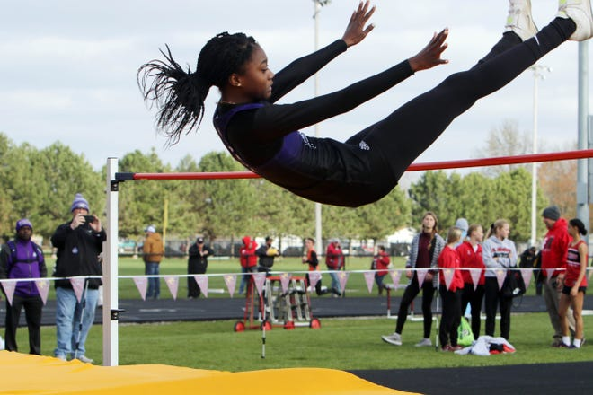 Keokuk High School's Miracle Ailes competes in the  girls high jump during the Denny White Relays Thursday April 15, 2021, at the Mapleleaf Athletic Complex in Mount Pleasant.
