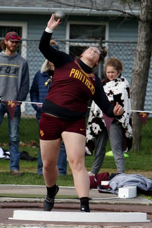 Mount Pleasant High School's Jadan Brumbaugh competes in the girls shot put during the Denny White Relays Thursday April 15, 2021, at the Mapleleaf Athletic Complex in Mount Pleasant.