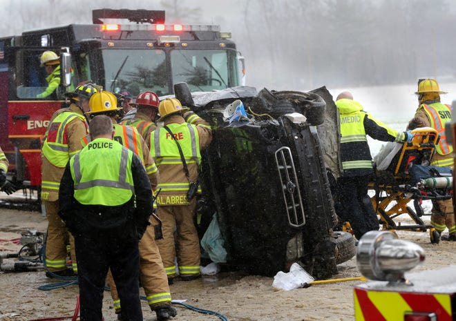 A rollover accident involving a single car with 4 occupants brought both Rochester and Somersworth to the scene on Rocky Hill Road Friday.