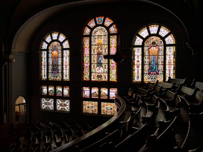 A view of the stained glass windows at Central Congregational Church, 60 Public Square.