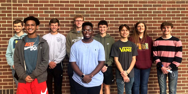 """Denison High School's 2021 esteemed Texas Music Scholars, from left, are: front row – Michael Golston, Kayden Bryant, David Ariza and Sean Hively; back row – Gavin Dunaway, Luke Sparlin, Axton Grams, John Dornstadter and Madison Griffs. Not pictured is Rose Brown. """"This high honor is awarded to students who have exhibited outstanding qualities in three key areas: scholastic merit, musicianship, and citizenship in their school and community,"""" said Melissa Lewis, DHS Band Director. """"This is an incredible honor, and I am so proud of these students."""