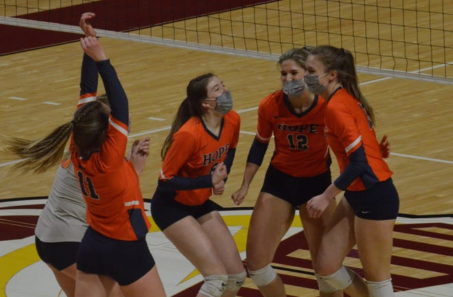 The Hope College volleyball team took on Calvin on the road Friday, April 16.