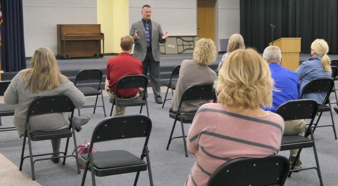 Curtis Nightingale, the new superintendent for Nickerson-South Hutchinson Schools, speaks before a group of teachers during a meeting on April 13 at Reno Valley Middle School.