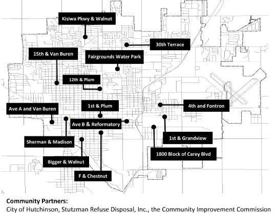 This map shows the planned locations for roll-off dumpstersr during the City of Hutchinson's City-Wide Clean-Up set for April 24-25.