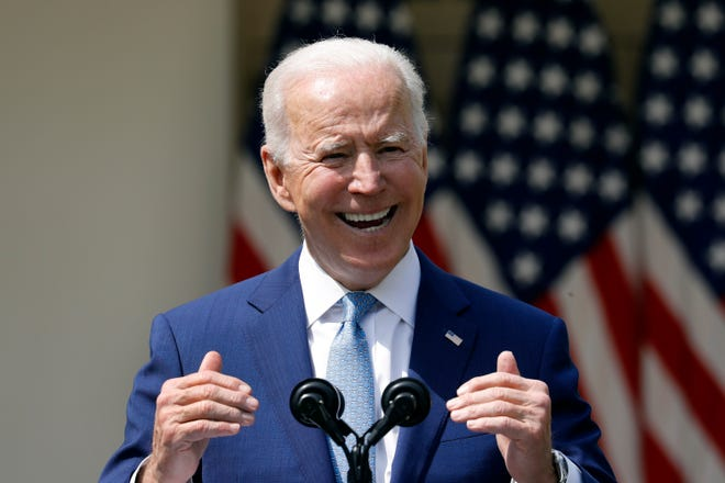 President Joe Biden speaks in the Rose Garden of the White House in Washington, D.C., on April 8, 2021. (Yuri Gripas/Abaca Press/TNS)