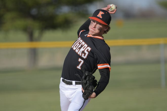 Kirksville sophomore pitcher Dominic Cahalan delivers the ball during the third inning Thursday against Fulton.