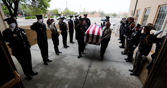 Honor Guard members practice moving the casket into the church. Officers from different law enforcement agencies and fire departments attended the Lubbock Regional Multi-Agency Honor Guard Academy, hosted by Arizona Border Patrol, Del Rio Border Patrol and The Department of Public Safety. The mock funeral was held at First Baptist Church and had Honor Guards from Midland PD, Lea County Sheriff's Office, Lubbock Police Department, Lubbock Fire Rescue, Department of Public Safety, and the Lubbock County Sheriff's Office who attended this week's training.