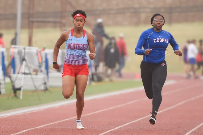 Monterey's Sydney Tullah runs in the girls' 100-meter dash during the Class 5A area track meet on April 15 at PlainsCapital Park at Lowrey Field.