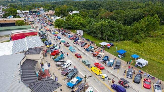 Aerial view of the Lake Ozark Street Meet.