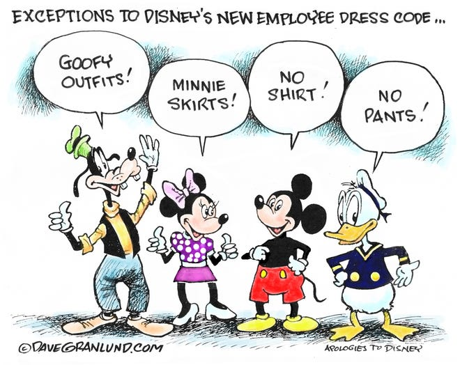 Dave Granlund cartoon on Disney's new dress code for employees