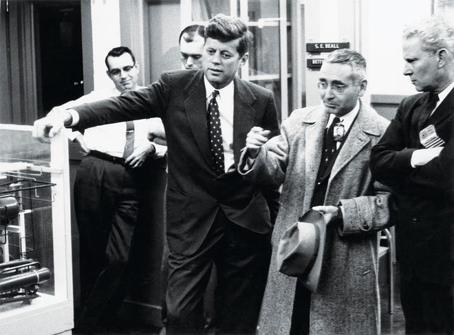 In this photo by the late U.S. Department of Energy photographer Ed Westcott, Oak Ridge National Laboratory Director Alvin Weinberg hosts then Sen. John F. Kennedy, left, and Sen. Al Gore Sr., right,on a tour of the lab on Feb. 24, 1959. An online tribute to Weinberg will be held at 7 p.m. Tuesday, April 20, which would have been Weinberg's birthday, to celebrate the digitized Alvin Weinberg papers collection at the Children's Museum of Oak Ridge.