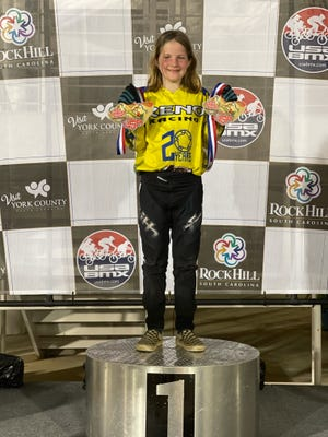 Camdyn Cole, aPrairie View Elementary fourth-grader, is shown at a recent BMX competition in Rock Hill, South Carolina.