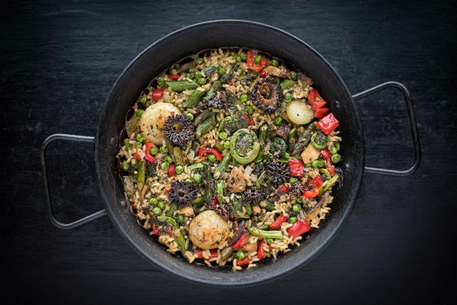 Black Trumpet's the main Earth Day Entrée for Planted for the Planet will be a spring paella with fiddleheads, mushrooms and legumes.