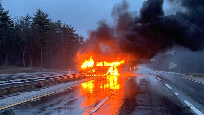 Maine State Police responded shortly before 6 a.m. to a crash involving a 15-passenger van crashed into a guardrail and erupted in flames shortly on the Maine Turnpike in Ogunquit shortly before 6 a.m. on Friday, April 16, 2021. The driver escaped without injury, and there were no passengers in the van at the time of the crash, police said.