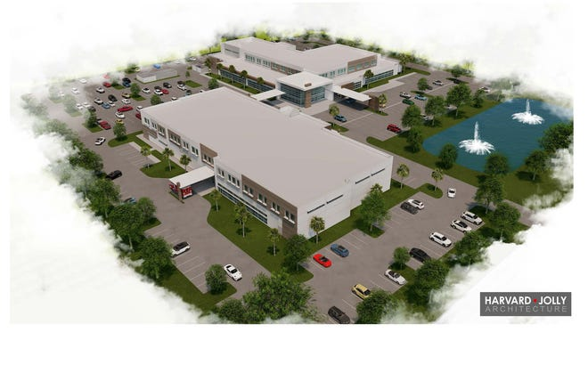 Artist's rendering of micro hospital in suburban Delray Beach west of the turnpike on Atlantic Avenue.