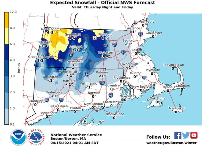 Northwestern Rhode Island could see some snow, but little to no accumulation from this April storm. Northwest Massachusetts could see up to 8 inches, according to the National Weather Service.