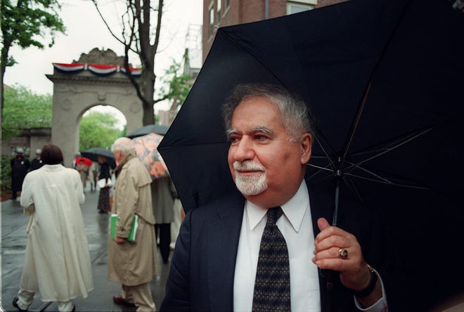 Vartan Gregorian is pictured in 1997 during the dedication of a memorial at Brown University.