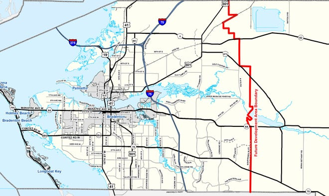 Manatee County's Future Development Area Boundary.