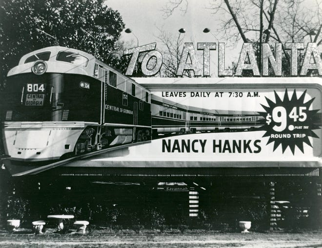 Billboard ad for the Nancy Hanks II.