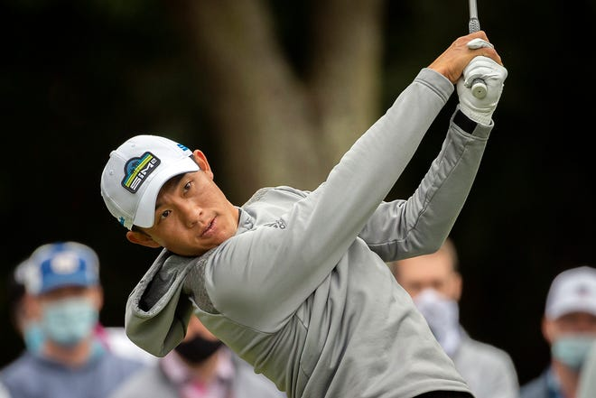Collin Morikawa drives his ball off the ninth tee during the second round of the RBC Heritage golf tournament in Hilton Head Island, S.C., on Friday.