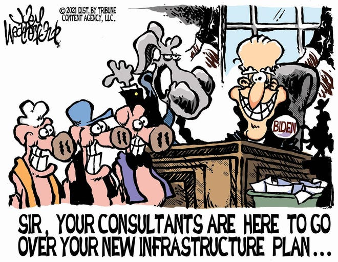 Weatherford cartoon: Biden's infrastructure plan. Joey Weatherford cartoon on President Joe Biden and the U.S. infrastructure.