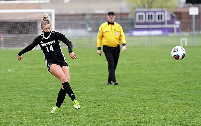 Alivia Knapp of Three Rivers pounds home a goal against Bronson in prep soccer action on Thursday.