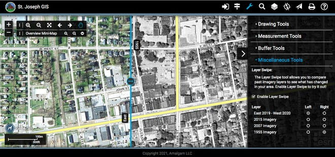 This interactive, swipe-enabled image shows Sturgis in 2020, left, and in 1955, right. The option was recently unveiled by St. Joseph County officials.