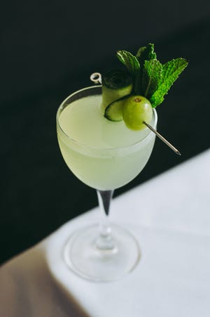 The Celadon cocktail,crafted with Kovaldry gin, elderflower, verjus, arbequina olive oil, green grape, cucumber, basil, mint, lime and fleur del sel, serves as the charity drink. It can be purchased for $13.
