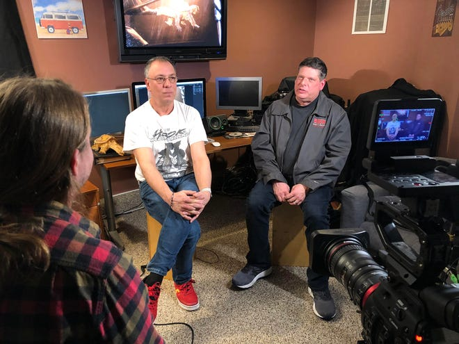 """John Campopiano (far left, off to the corner) interviews Mike Savino (center) and Mark Veau (right) for the short-film documentary """"Snapper: The Man-Eating Turtle Movie That Never Got Made."""""""