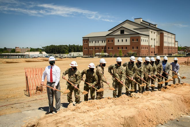 Officials assemble at a groundbreaking ceremony for the JFK Special Warfare Center and School's human performance facility on Friday, April 16, 2021. This is the last building in a multi-million dollar construction plan that has been in the works for several years.