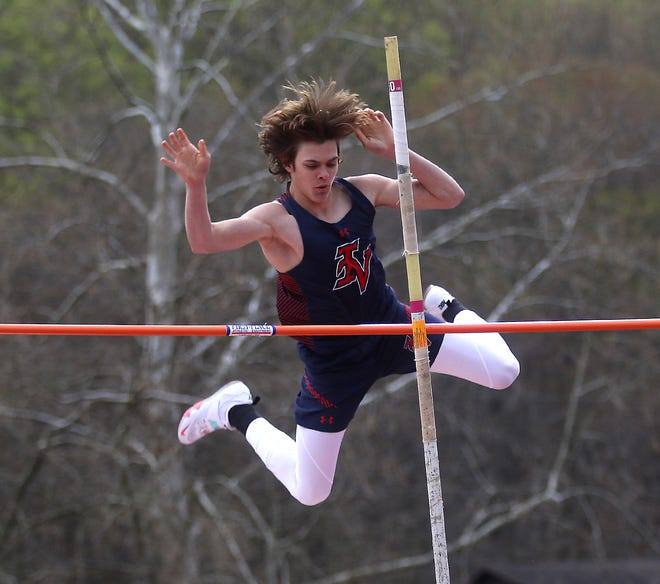 Indian Valley's David Adams clears 13 feet, 6 inches to win the pole vault Thursday night.