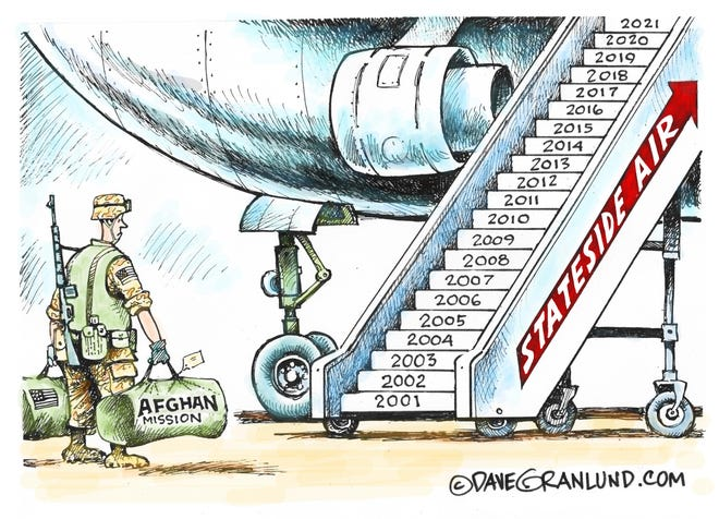 Dave Granlund cartoon on the U.S. exit from Afghanistan.