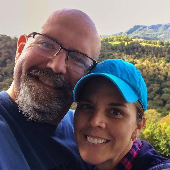 Jason Minnix, a music teacher at Eblen Intermediate School, with his wife, Brandy.