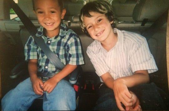 Hunter Schaap, left, and Payton Schindler, as children in Bremerton.