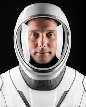 European Space Agency Astronaut Thomas Pesquet is seen in his SpaceX suit.
