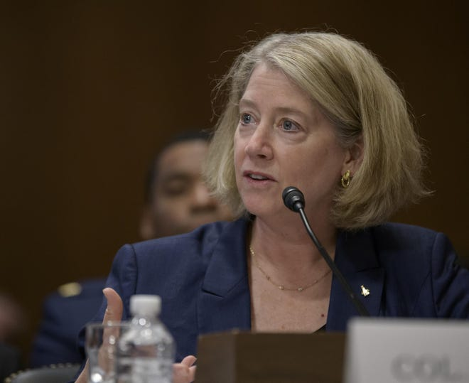Col. Pamela A. Melroy, United States Air Force (ret.) (former astronaut) testifies before the Aviation and Space Subcommittee of the Senate Commerce, Science, and Transportation Committee Tuesday, May 14, 2019, at the Dirksen Senate Office Building in Washington.