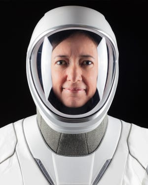 NASA astronaut Megan McArthur, assigned to the agency's Crew-2 mission to the International Space Station, is seen in her SpaceX suit. She will pilot the Crew Dragon capsule.