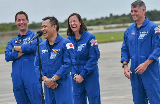 The astronauts of SpaceX Crew-2 share a laugh after their arrival at Kennedy Space Center Friday, April 16, 2021. Thomas Pesquet of ESA (European Space Agency), Megan McArthur of NASA, Shane Kimbrough of NASA will launch April 22 on a mission to the International Space Station. Craig Bailey/FLORIDA TODAY via USA TODAY NETWORK