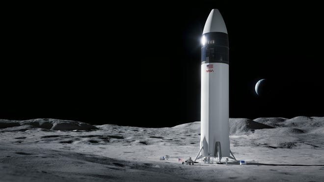 Illustration of SpaceX Starship human lander design that will carry NASA astronauts to the Moon's surface during the Artemis mission.
