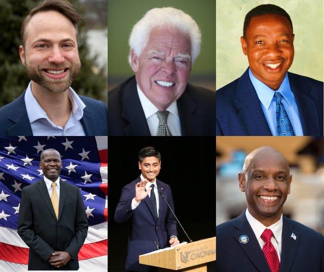These six candidates will vie for Cincinnati mayor in the November election. Top row L-R: Gavi Begtrup, David Mann, Herman Najoli. Bottom row L-R: Raffel Prophett, Aftab Pureval, Cecil Thomas. Current Mayor John Cranley is term-limited out.