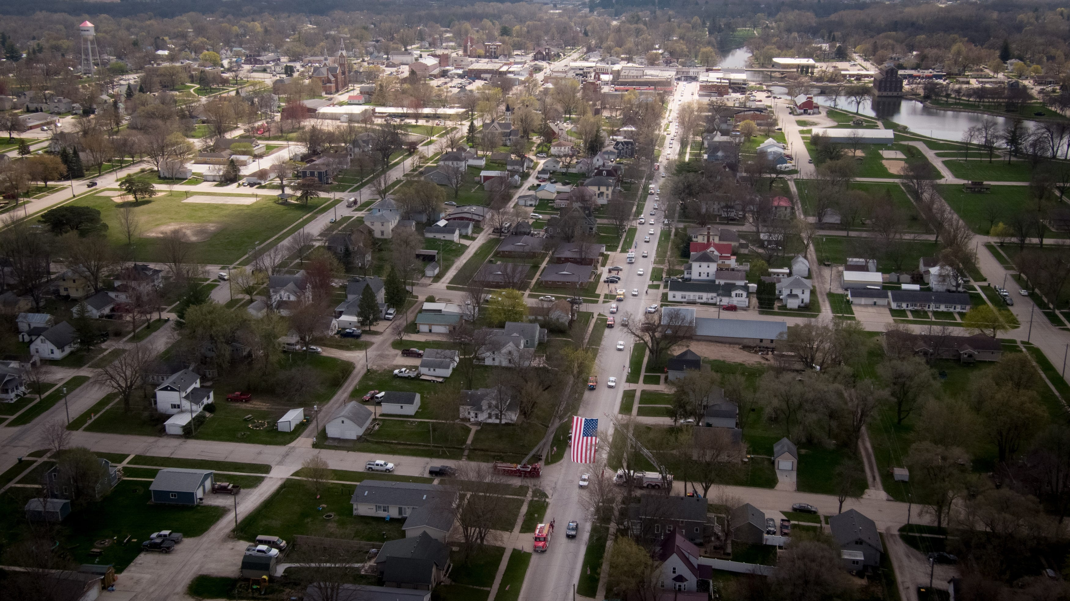Drone video: Iowa State Patrol Sgt. Jim Smith's funeral procession