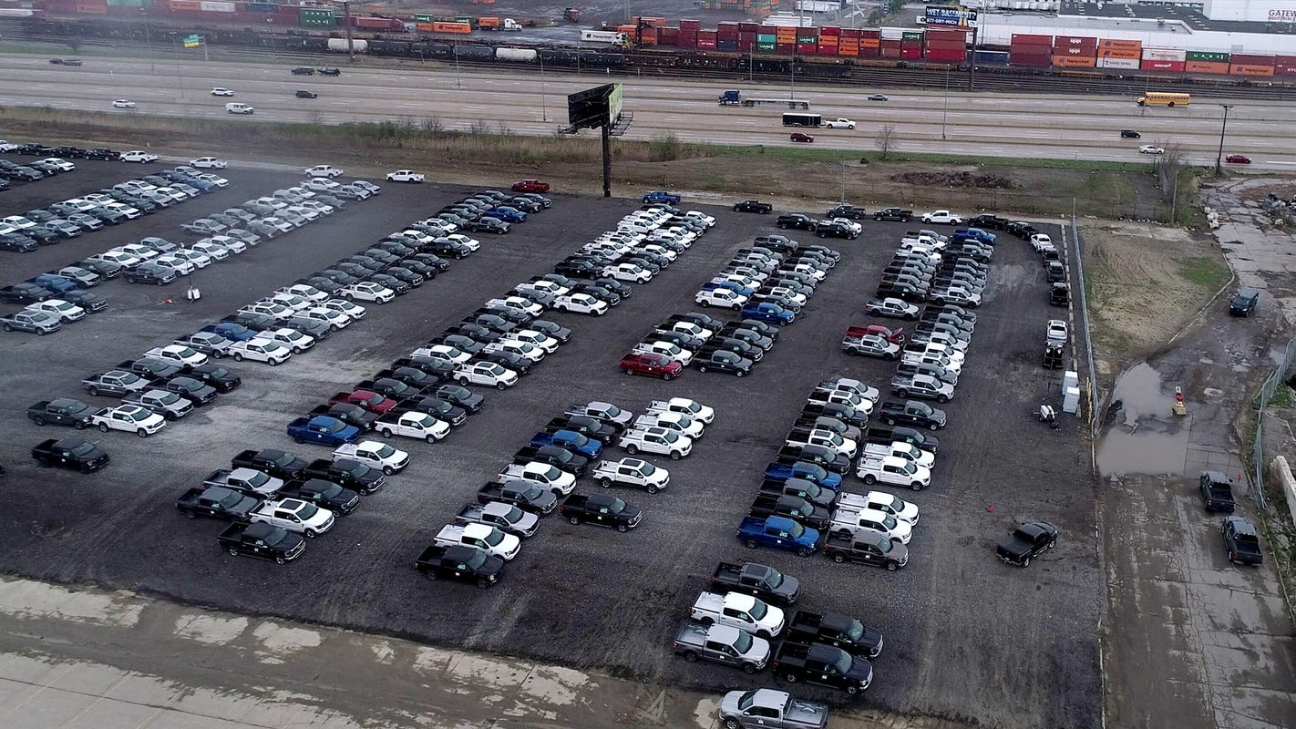 People are clamoring for Ford F-150s now trapped in Detroit parking lot