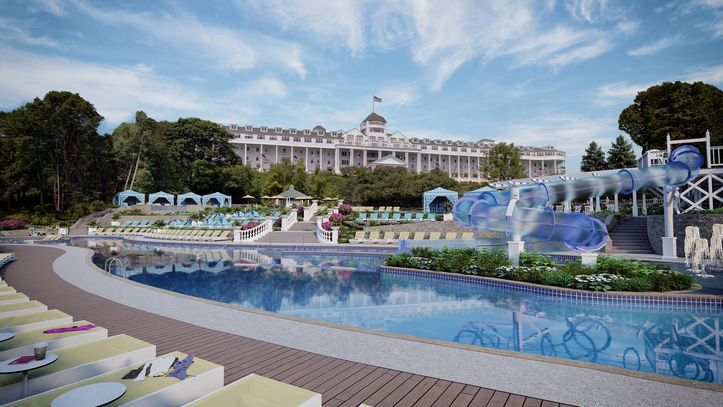 Grand Hotel on Mackinac Island spends $10M on famous pool, new slide, cabanas, rooms