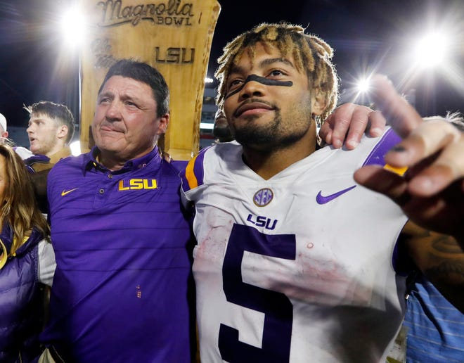 FILE - A 74-year-old woman told state lawmakers she spoke directly to Orgeron about sexual harassment she endured in 2017 from one of his star players. But the woman, a grandmother, said Orgeron did nothing.