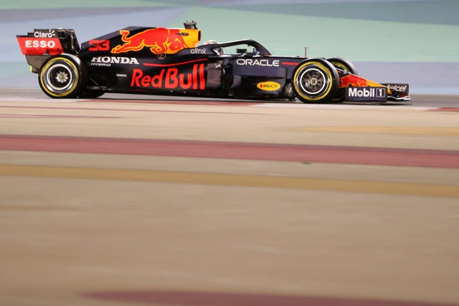 Red Bull driver Max Verstappen of the Netherlands steers his car during the Bahrain Formula One Grand Prix at the Bahrain International Circuit in Sakhir, Bahrain, Sunday, March 28, 2021.
