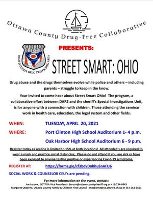 """The Ottawa County Drug Free Collaborative, an initiative of the Ottawa County Family & Children First Council isoffering """"Operation Street Smart"""" Tuesday at the Port Clinton High School Auditorium from 1-4 p.m. and Oak Harbor High School from 6-9 p.m. that evening."""