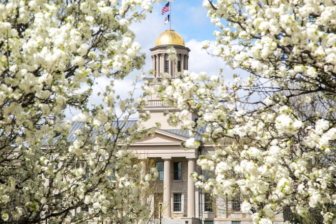 The Old Capitol Building on the University of Iowa campus in Iowa City.