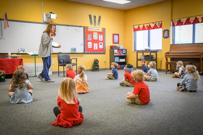 Teachers at University School of Jackson kept pre-K students six feet apart as much as possible throughout the school day.
