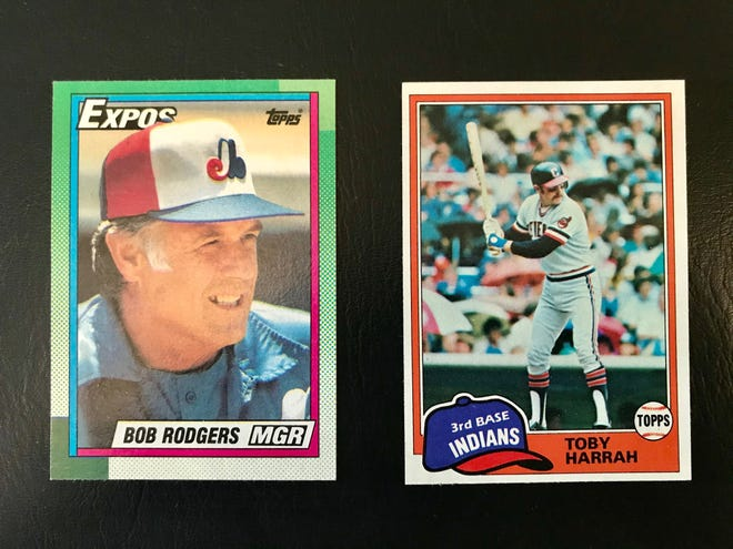Marion County natives Buck Rodgers, left, and Toby Harrah are immortalized forever on cardboard in these Topps baseball cards that are in the collection of Rob McCurdy.